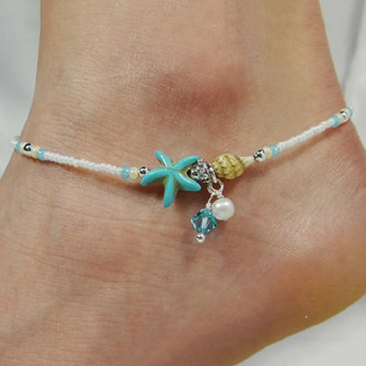 Shell Anklet Beads Starfish Anklets For Women Fashion Vintage Handmade Sandal Statement Bracelet Foot Boho Jewelry
