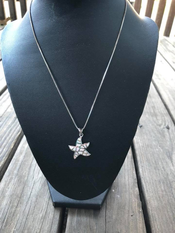 White Opal Starfish Necklaces