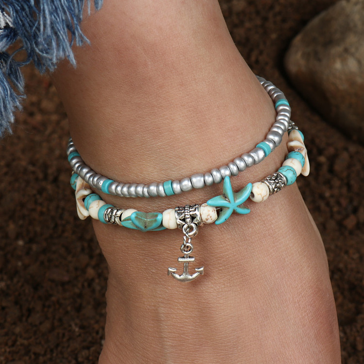 Starfish Anchor Ankle Bracelet
