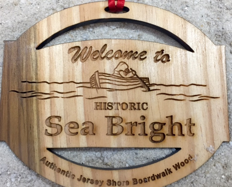 Welcome To Sea Bright Authentic Jersey Shore Boardwalk Wood Ornament