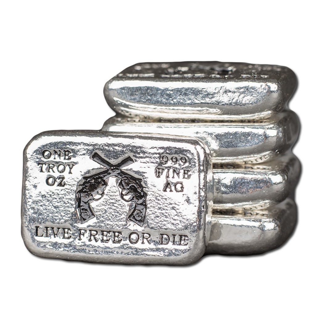 "(10x) 1 oz Hand Pour Silver Bar STACKERS MINT Series ""LIVE FREE OR DIE"" 2016"