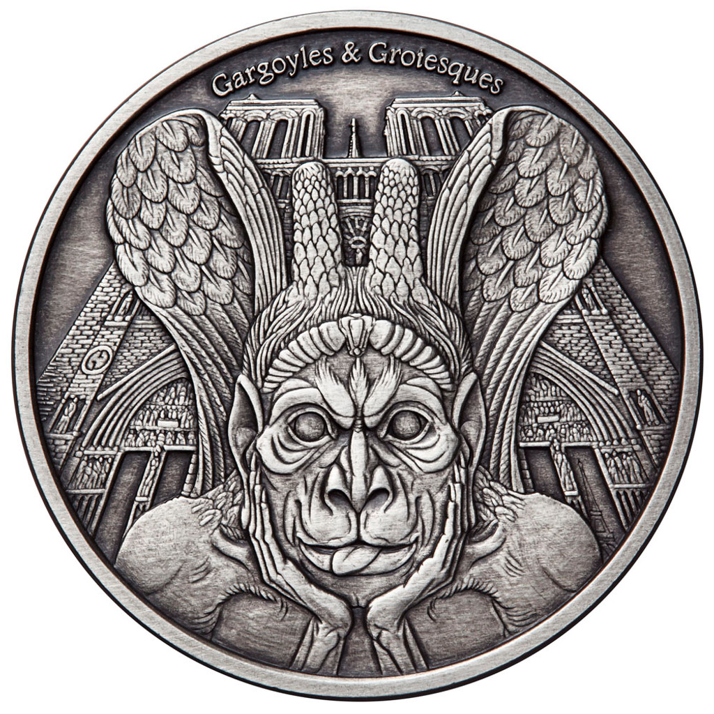 """2017 Gargoyles & Grotesques """"Spitter"""" Notre Dame Silver Coin Tchad 1000 Francs ANTIQUED"""