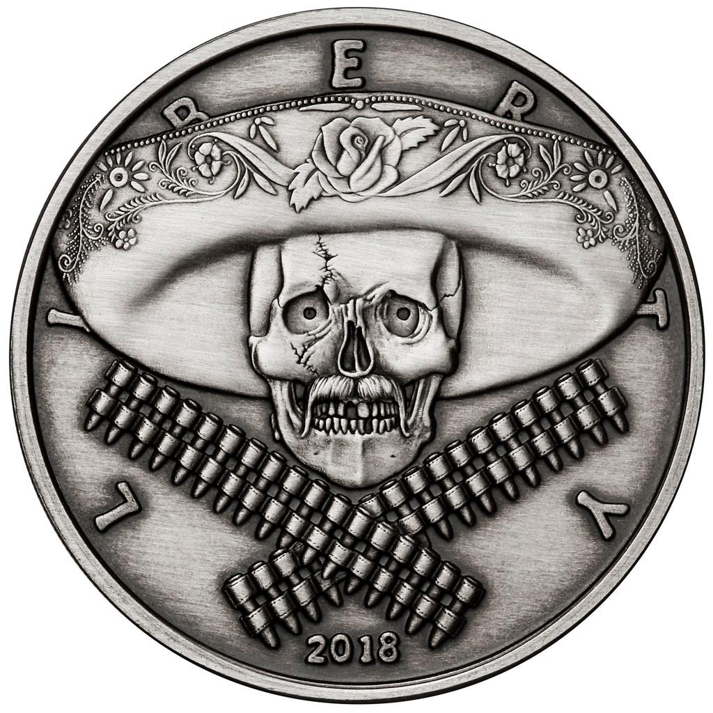 2018 5 oz .999 Silver ANTIQUED Round Western Skulls MEXICAN BANDITO