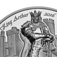 2016 LEGENDS OF CAMELOT - KING ARTHUR 2 oz Silver Coin Cook Islands