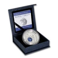 2017 ROYAL DELFT PEACOCK Pavo Cristatus Porcelain Silver Coin 10$ Cook Islands