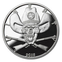 2018 1 oz .999 Silver PROOF Round Western Skulls SHERIFF