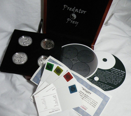 "4-coin PREDATOR PREY Set .999 Silver Coins ""Complete set of ALL Coins"" w/Display Box ARTIST SIGNED #3"