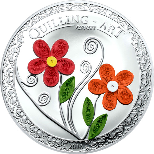 "2016 QUILLING ART ""FLOWERS"" Silver Coin Cook Islands $2"