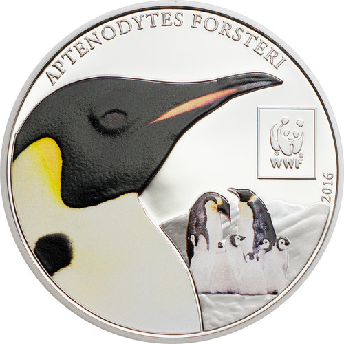 2016 WWF Emperor Penguin 100 Shillings Cu Ag-plated Coin - Tanzania
