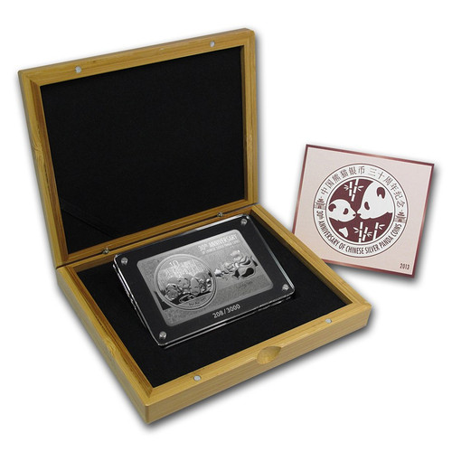 2013 3 oz 30th Anniversary China Panda Silver Bar and Coin Set Box COA