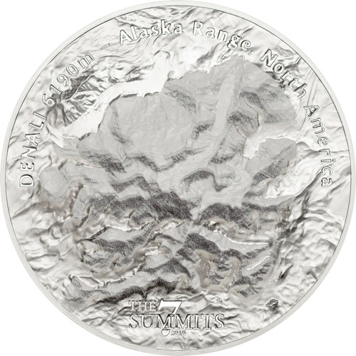 2016 SEVEN SUMMITS DENALI 5 oz .999 Silver Coin 25$ Cook Islands