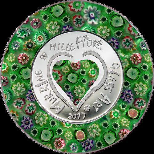 2017 Murrine Millefiori Glass Art Venetian Murano $5 Silver Coin - Cook Islands