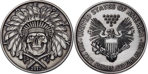 2017 5 oz .999 Silver ANTIQUED Round Western Skulls INDIAN CHIEF