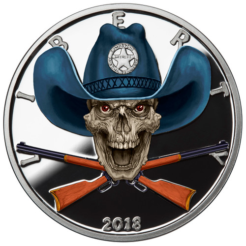 2018 1 oz .999 Silver COLORIZED Round Western Skulls SHERIFF