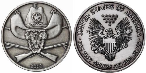 2018 5 oz .999 Silver ANTIQUED Round Western Skulls SHERIFF