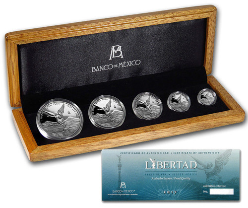 2017 5 Coin Mexican LIBERTAD Silver Proof 1 oz 1/2 oz 1/4 oz 1/10 1/20 Box Set