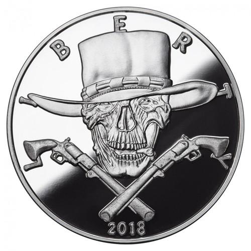 2018 1 oz .999 Silver PROOF Round Western Skulls GUNSLINGER