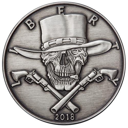 2018 5 oz .999 Silver ANTIQUED Round Western Skulls GUNSLINGER