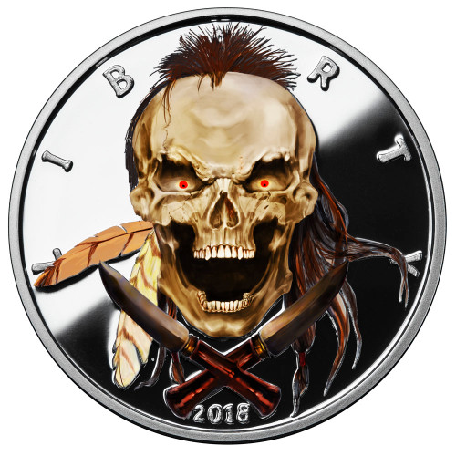 2018 1 oz .999 Silver COLORIZED Round Western Skulls INDIAN BRAVE