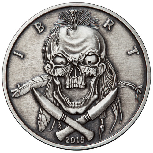 2018 1 oz .999 Silver ANTIQUED Round Western Skulls INDIAN BRAVE