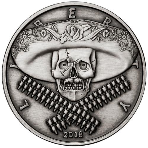 2018 1 oz .999 Silver ANTIQUED Round Western Skulls MEXICAN BANDITO