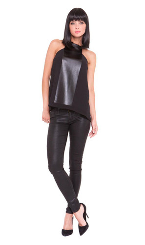 Analili Dylan Front Pleather Panel Halter Top