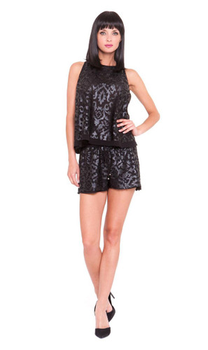 Analili Dylan Flared Hem Pleather Lace Top
