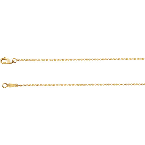 14k Yellow Gold 1mm Solid Cable Chain
