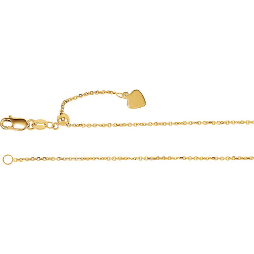 """14K 1mm Adjustable Cable 22"""" Chain"""