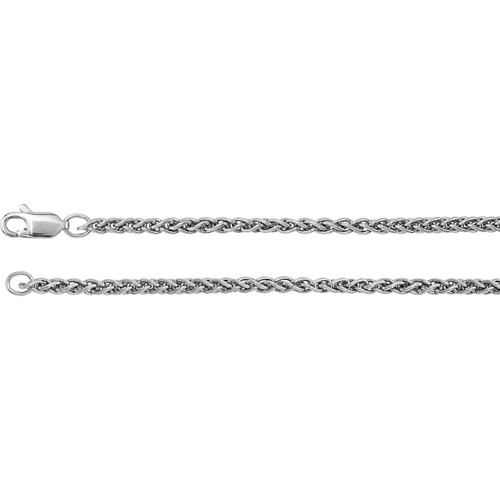 14k White Gold 2.4mm Wheat Chain