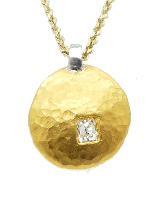 Custom 24kt Hammered Pendant w/ Platinum Bail and 14 pt Rectangular Old Mine Cut Dia