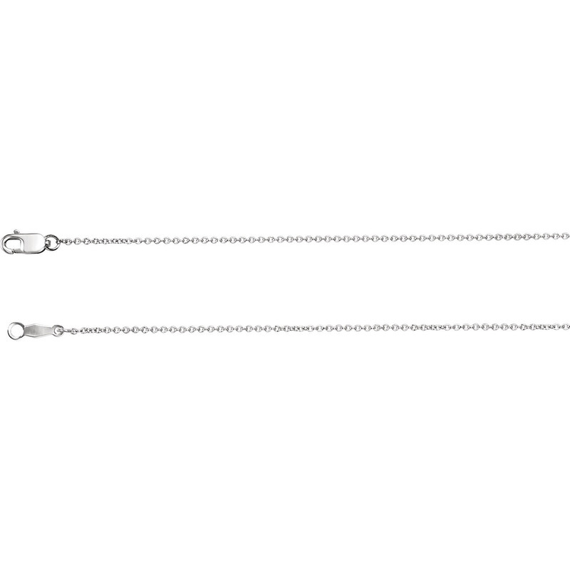 14k White Gold 1mm Solid Cable Chain
