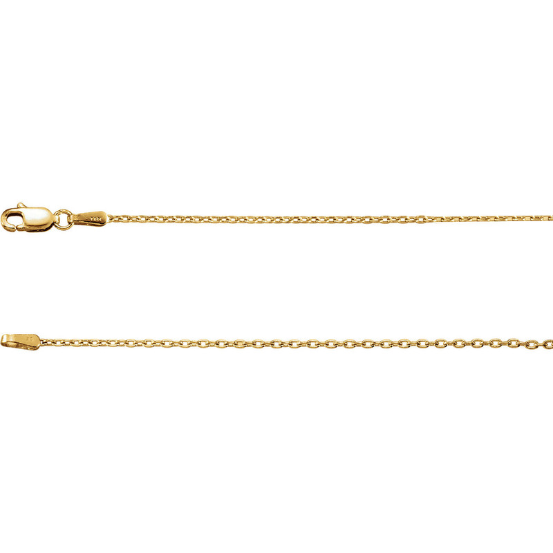14k Yellow 1.5mm Solid Cable Chain