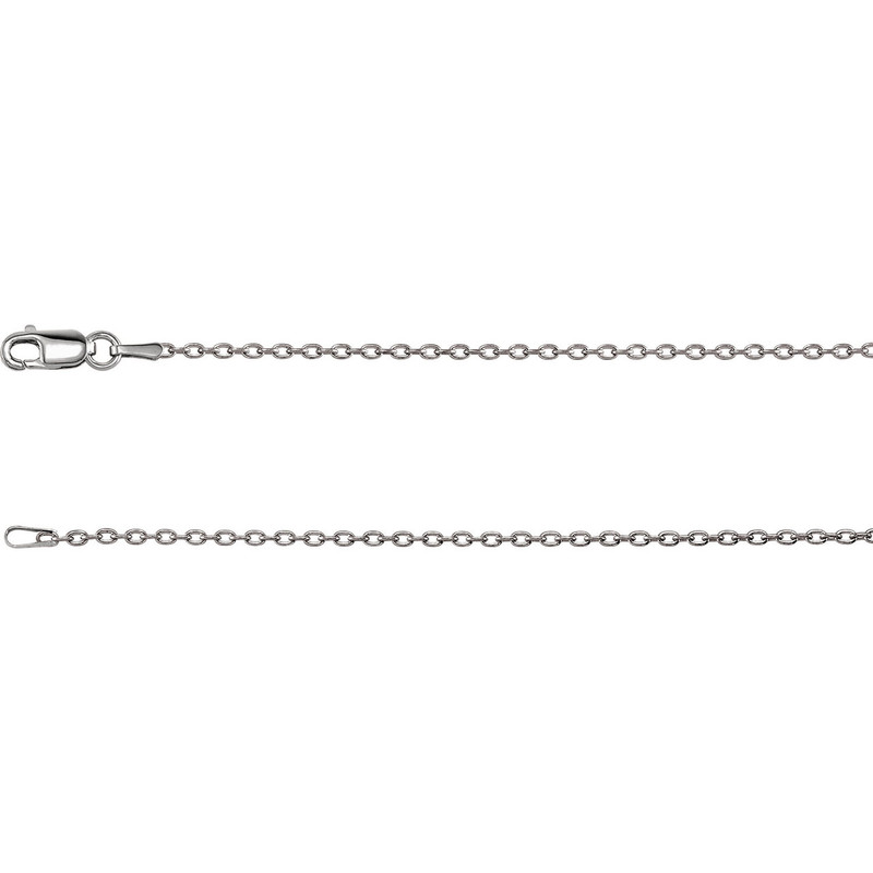 14k White Gold 1.5mm Solid Cable Chain
