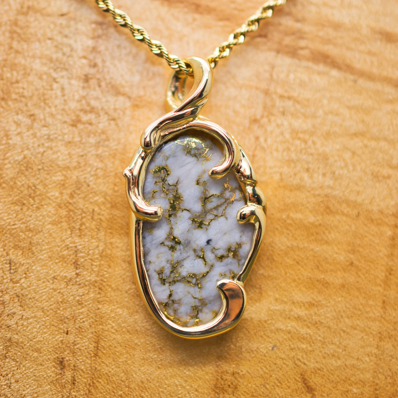 14K Yellow Gold Free-form Bezel Pendant with Local Gold Laced Quartz