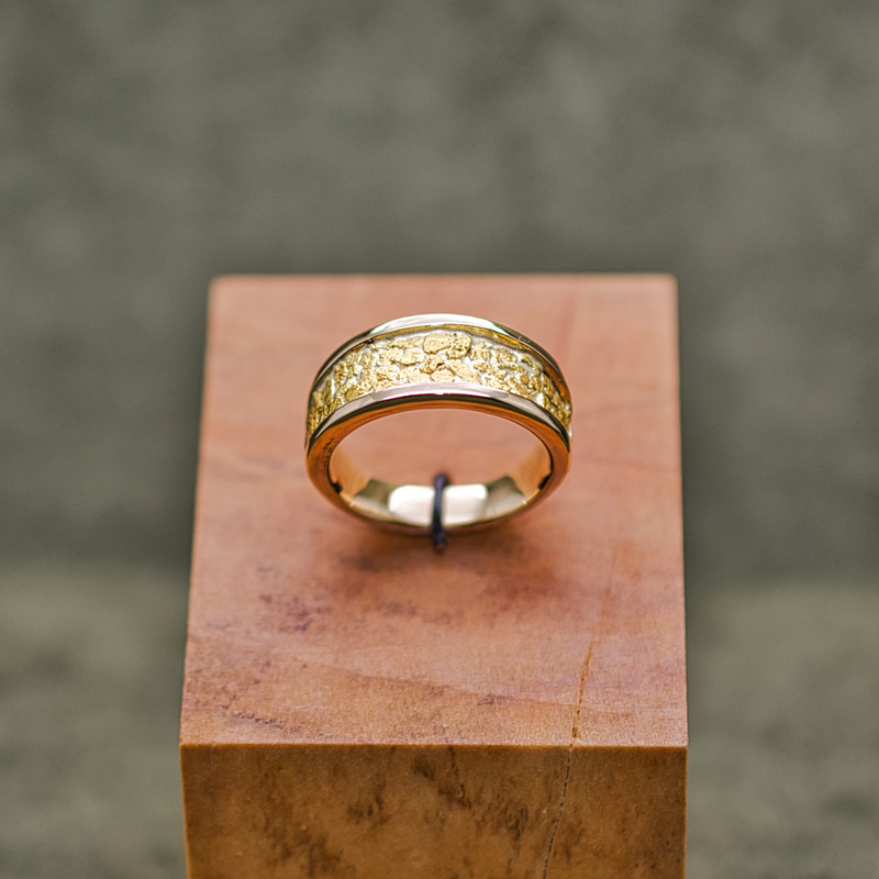 14K Yellow Gold Large Tapered Band with Natural Local Placer Gold Inlay