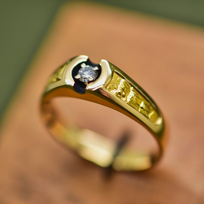 Custom 14k Yellow Gold with Placer Gold Ring with .10 ct Center Diamond