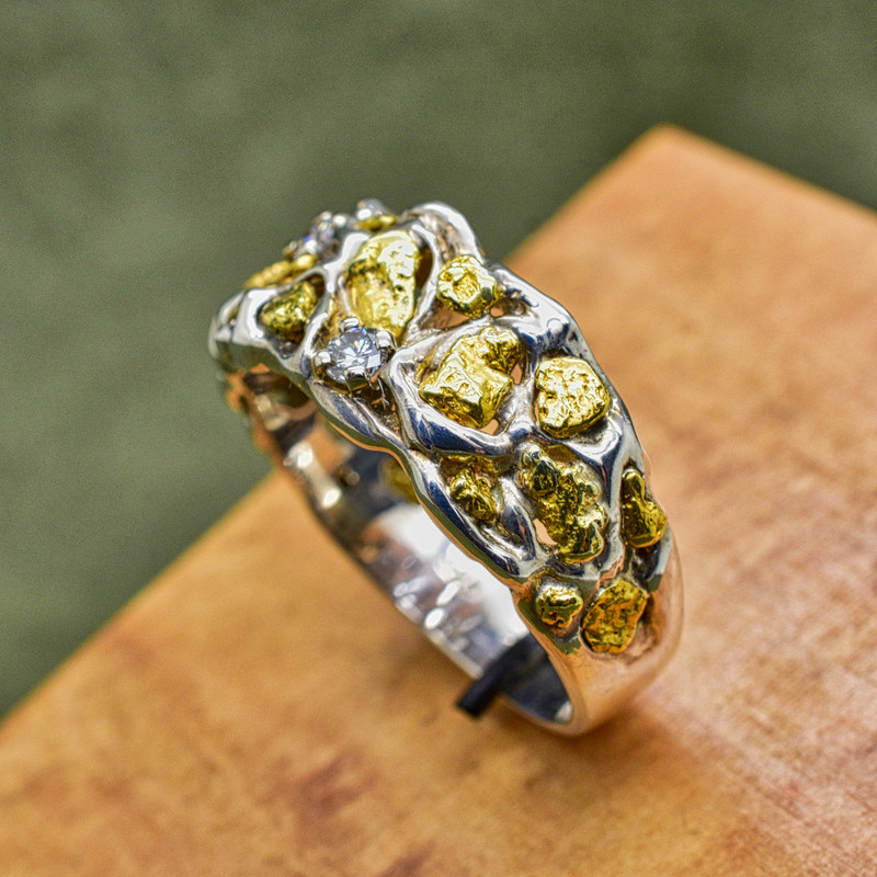 Sterling Silver and Natrual Nugget Ring with .16 ct in Diamonds