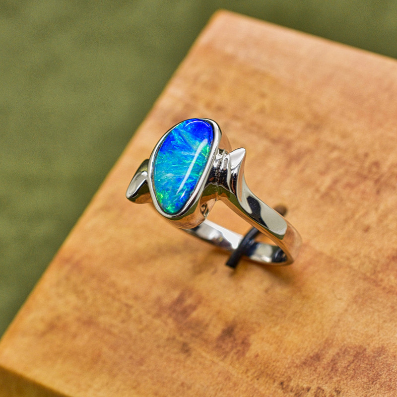 Sterling Silver Ladies Bypass ring with Opal Doublet