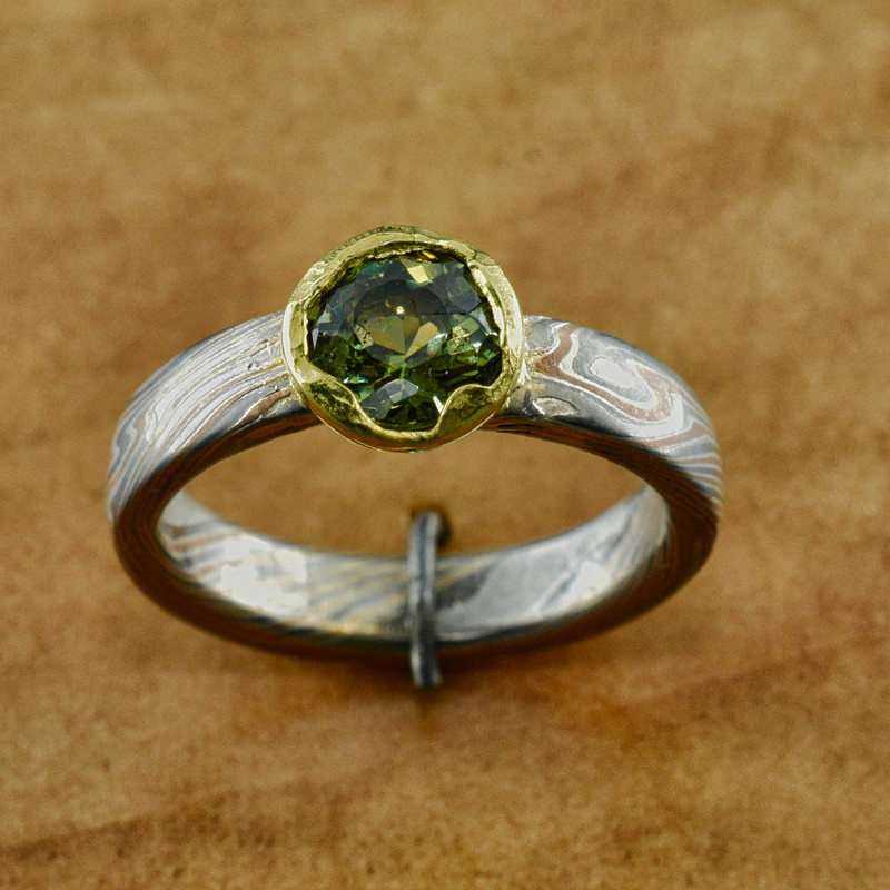 Custom Mokume Band and Head with 1.30 ct Demantoid Garnet