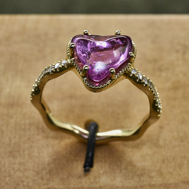 14K Yello Gold with 2ct Natural Freeform Cabochon Pink Sapphire on a Wave Band