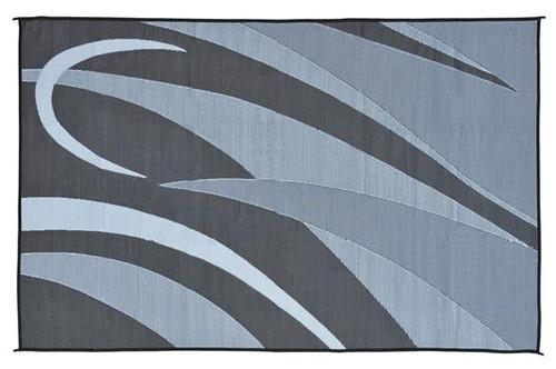 Reversible Patio Mat, Black/Silver Swirl Graphic Design   Size: 8u0027 X