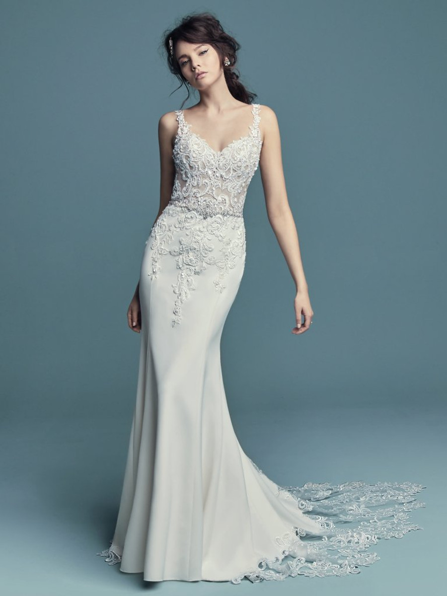 Contemporary Maggie Sottero Black And White Wedding Dress Frieze ...