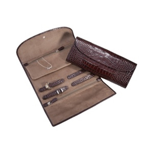 Jewelry Roll-Crocodile Embossed Leather