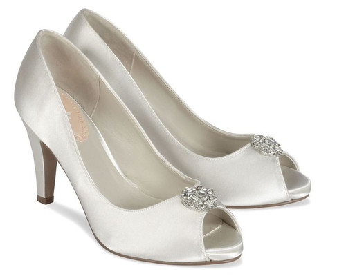 Sample Lustre Dyeable Satin Open Toe Shoes
