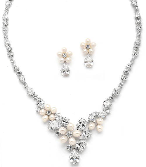 Ravishing Freshwater Pearl and CZ Statement Necklace and Earrings Set