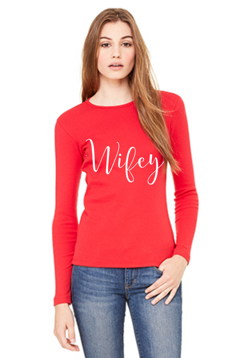 Wifey Long Sleeve Tee Red Shirt