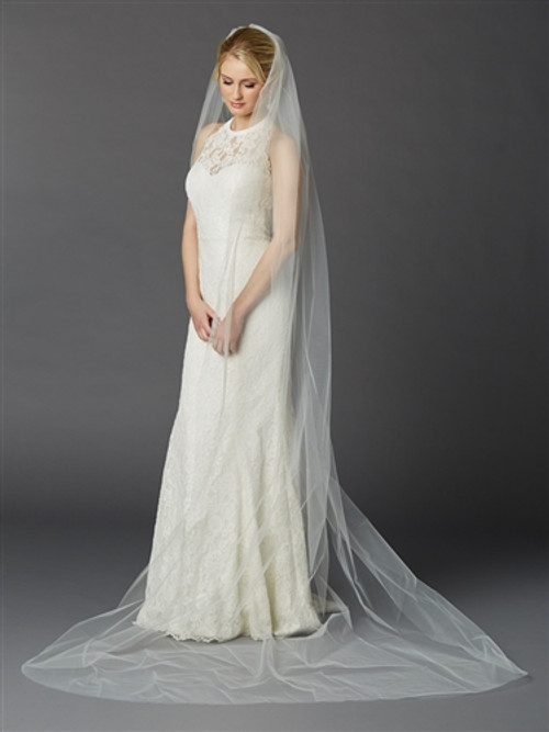 Cathedral Length Single Layer Cut Edge Bridal Veil