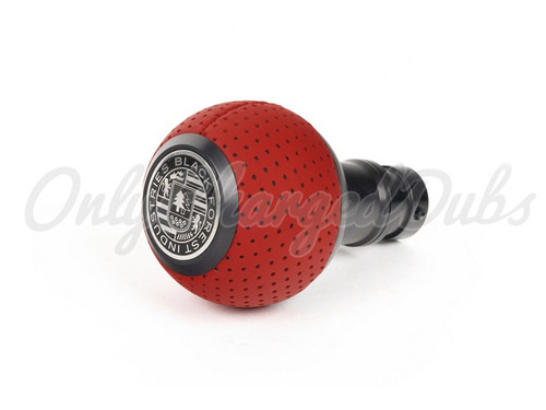 VW/Audi BFI Heavy Weight Shift Knob - Black Anodized - Rosso Centaurus Leather