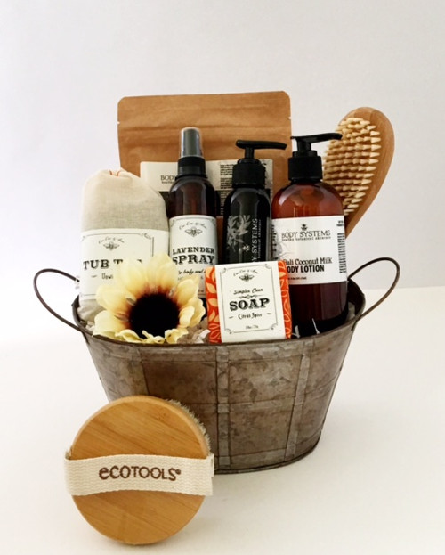 Everything you need for a relaxing spa day.  Bath salts, soap, tub tea, body lotion, lavender spray and massage oil.  Bath brushes also included.  This is a gender neutral gift.  Please inquire about customizing this gift.